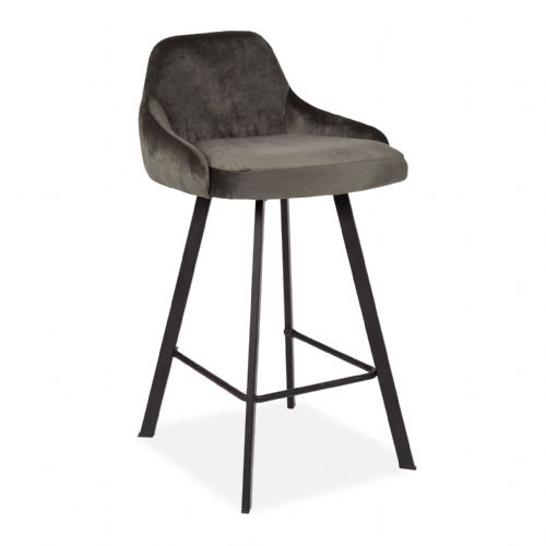 x2 Grey Alfa Velvet Cushioned Barstool, with Black Legs